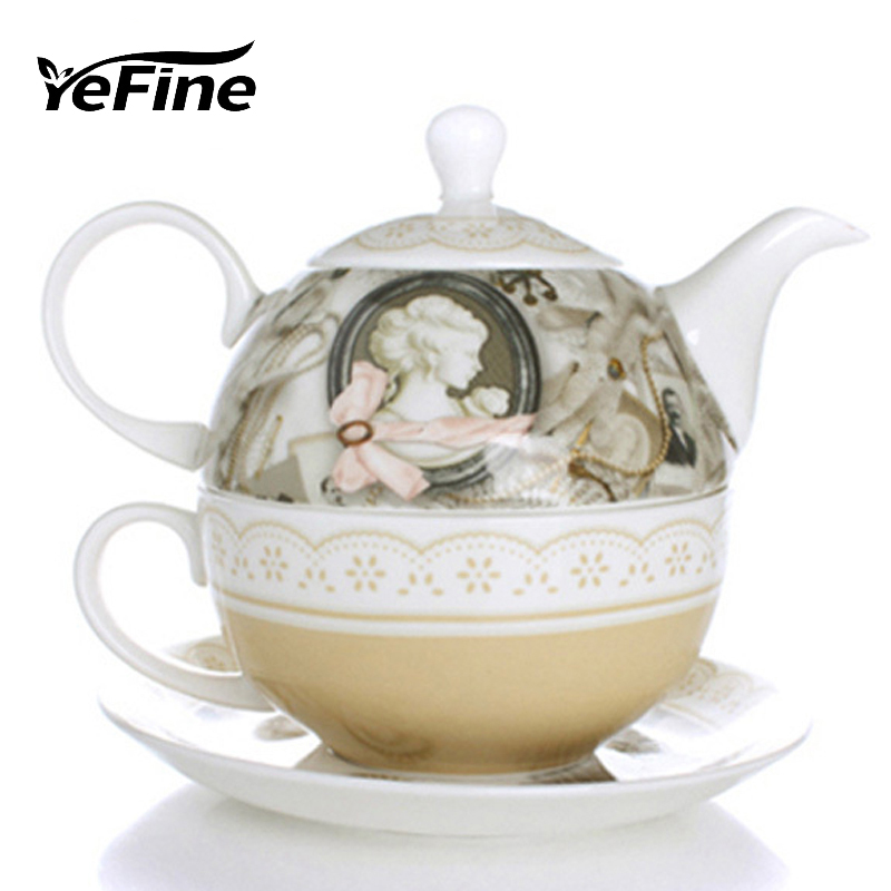 Yefine Ceramic Tea Set Travel Old Fashion Porcelain Coffee
