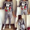 2017 Горячие Продажи Случайных спортивной Lovely Печатных Капюшоном С длинными рукавами Костюм Kawayi Tenue Femme Спортивная Одежда Наборы