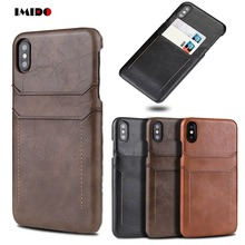 IMIDO Luxury PU Leather Phone Case For iPhone 7 6 6S Plus Wallet Card Back Cover X XR XS MAX 8 Coque Capa