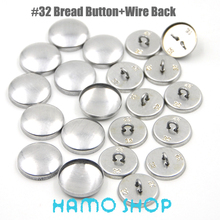 50Sets/lot Free Shipping #32 Aluminum Round Fabric Covered Cloth Button Cover Metal Bread Shape Wire Back For Handmade DIY