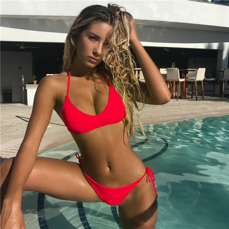 Sexy High Cut Bikini Set Women Solid Bandage Swimsuit Bathing Suit New Low Waist Bikinis Swimwear Summer Beachwear Biquini