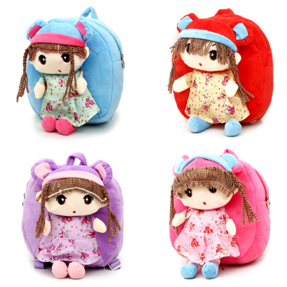 2 Styles Children Baby Plush Toys Princess Plush Dolls Backpack Cartoon Flower Fairy Girls Knapsack for Kids Plush Backpacks