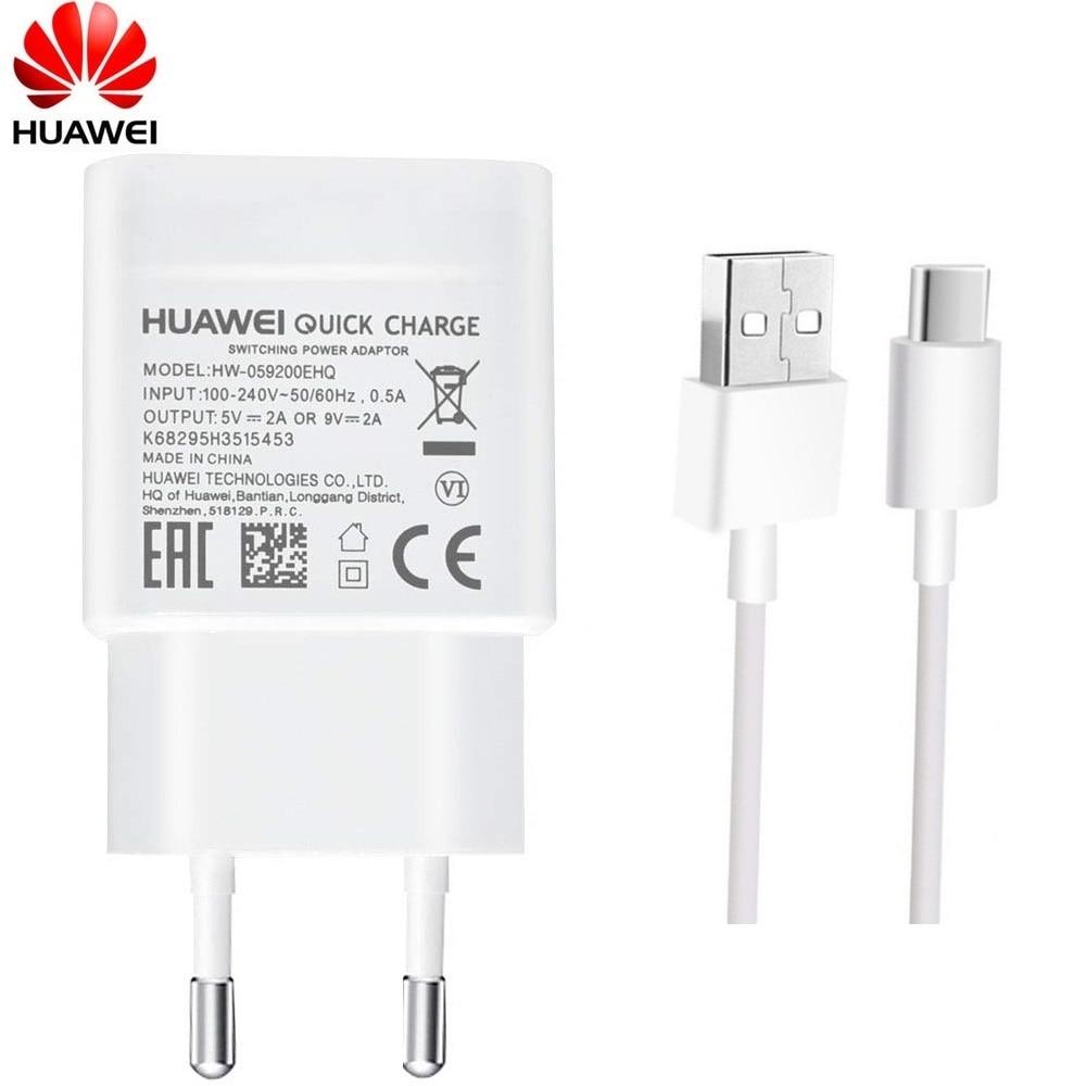 Зарядное устройство Huawei, для Nova 3 3i 4 Honor 9 8X P7 P8 P9 P10 P20 Lite Mate 7 8 9, 9 В 2 А, QC 2.0, USB Type-C, быстрая зарядка, ЕС стандарт