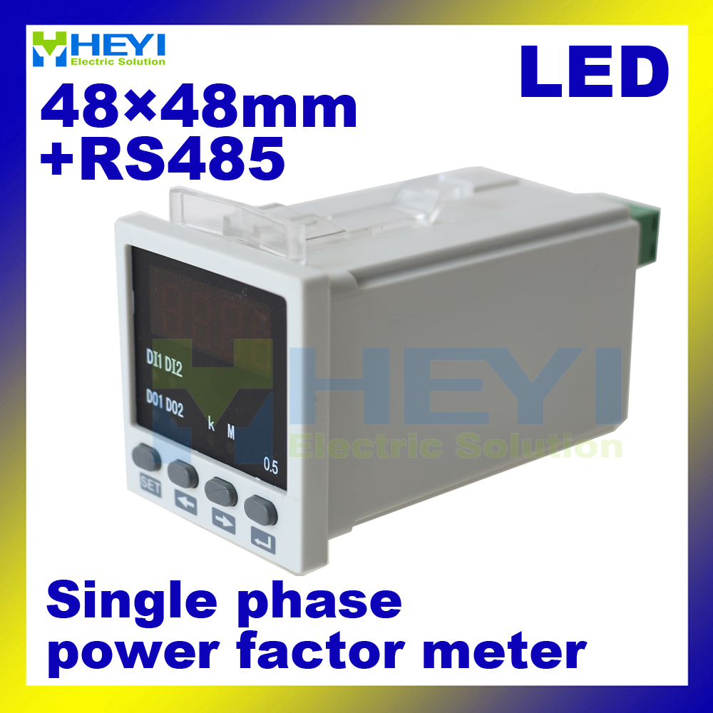 Led Light Fixture Power Factor: 48*48mm Single Phase COS Meters LED Display Digital Power