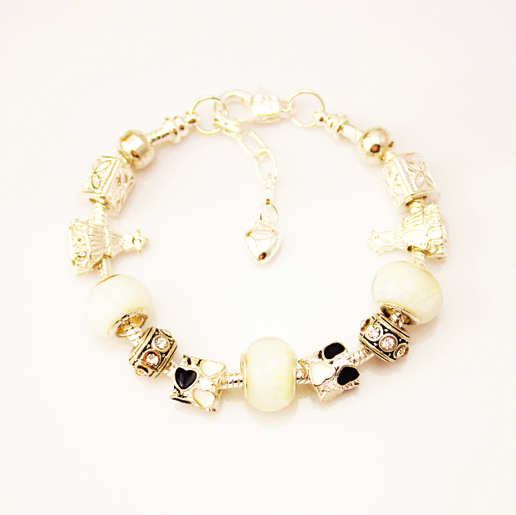 MPB Yaniv Crystal Charm Bracelet 925 for Women Silver Snake Chain & Murano Glass Black Beads Bracelet
