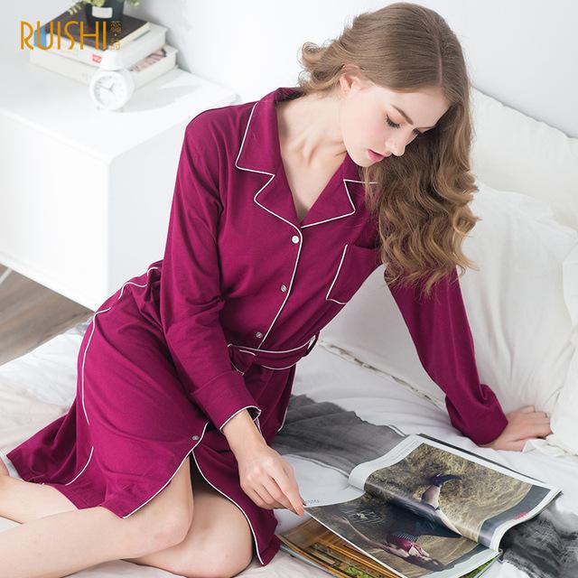 2016 Novo Estilo de Outono Mulheres Sleepwear Algodão Estampado Sexy Dormir Vestido Camisola Para Senhoras das Mulheres Roupa Em Casa Sleepwear