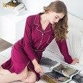 2016 Nueva Otoño Estilo de Las Mujeres ropa de Dormir de Algodón de Impresión Sexy Vestido de Dormir Inicio ropa Ropa de Dormir Camisón De Las Señoras de Las Mujeres