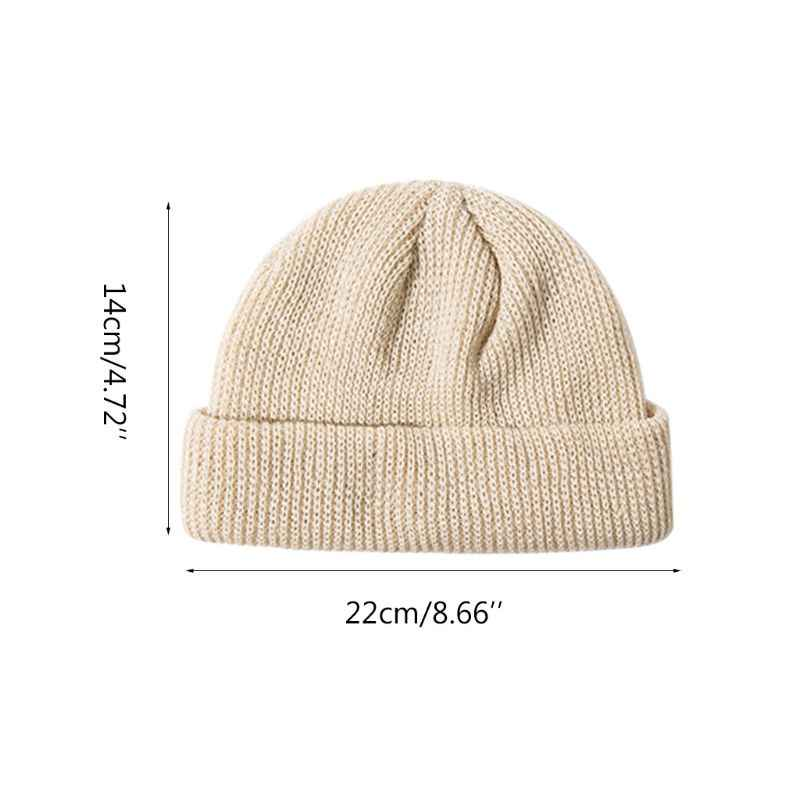 a8f2098287779 Unisex Winter Ribbed Knitted Cuffed Short Melon Cap Solid Color Skullcap  Baggy Retro Ski Fisherman Docker Beanie Hat Slouchy
