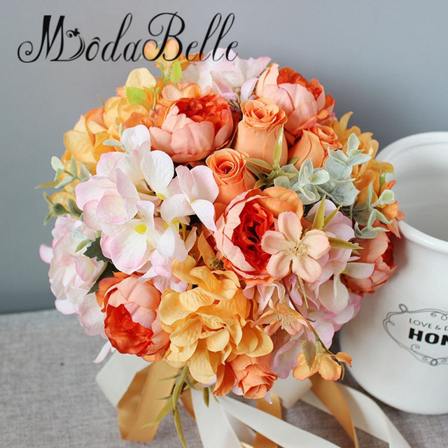 Modabelle Rosen Orange Brautstrauss Kunstliche Blumen Fur Dekoration