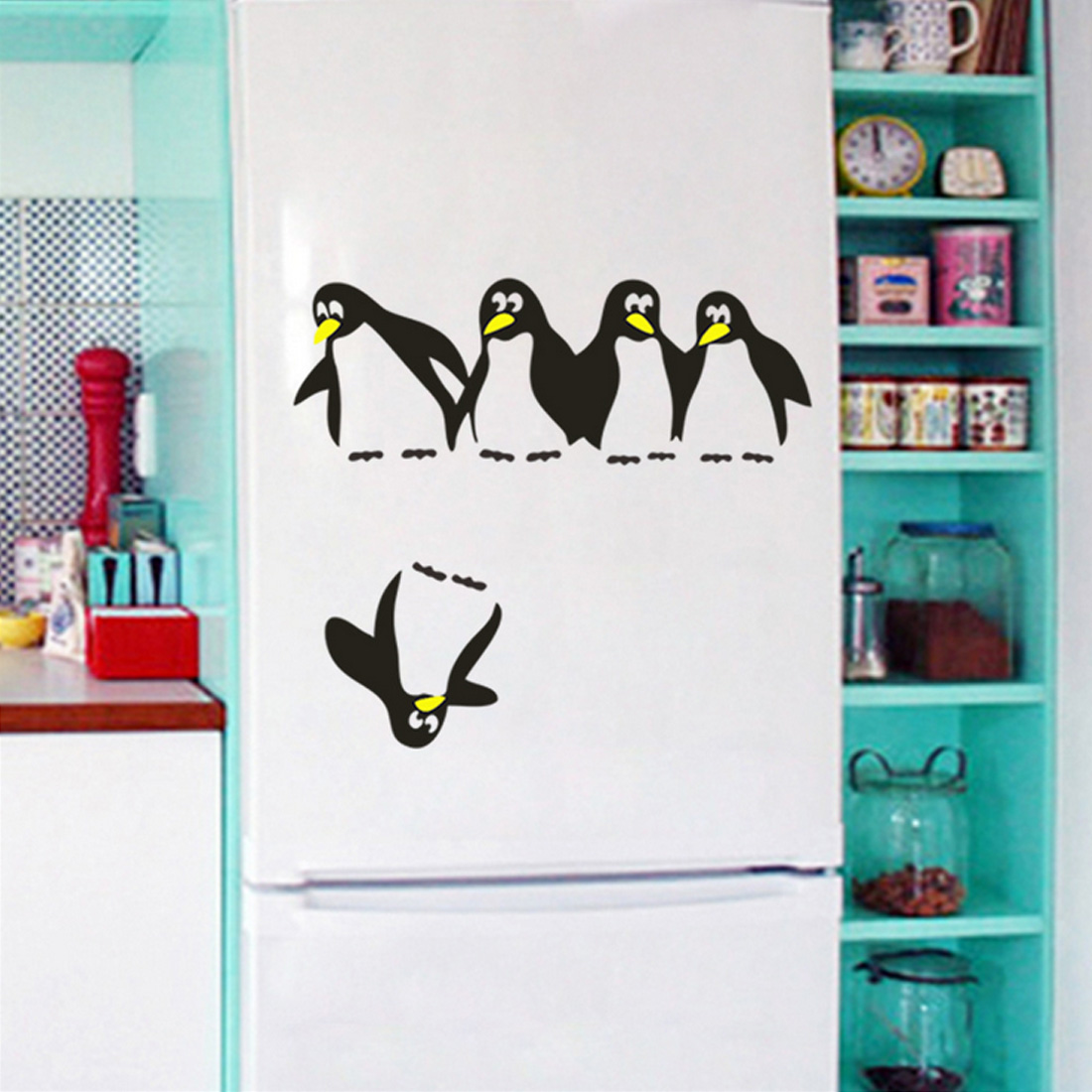Cute Penguin Funny Kitchen Fridge Sticker 1PC DIY Decals Dining Room Kitchen Decorative Wall Stickers Home