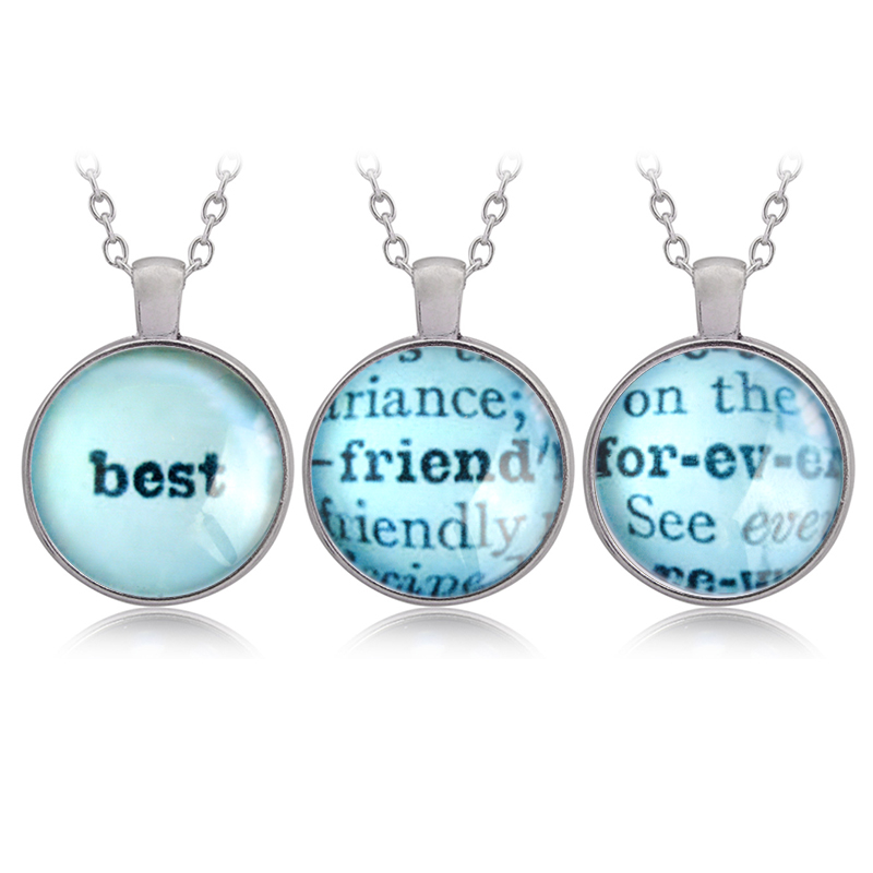 3pcs Best Friend For-ev-er Pendant Necklaces Time Necklaces Keychain BFF Friendship Jewelry Birthday Gift for Friends