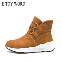 E TOY WORD Women Sports Boots Suede leather Winter Shoes Warm Fur Plush Insole Women Platform Ankle Snow Boots botas mujer