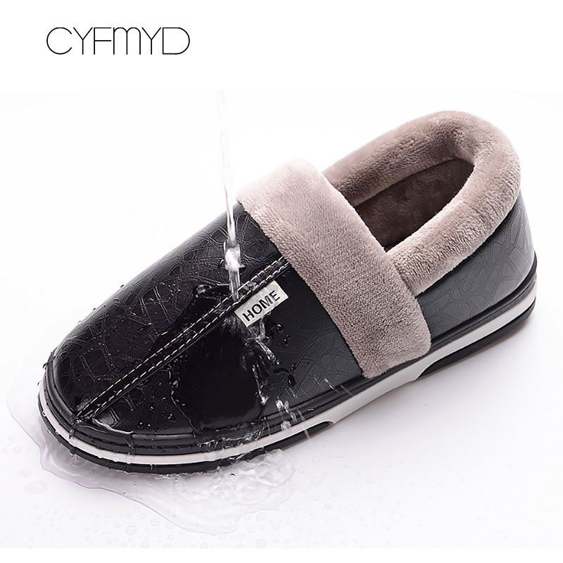 Fashion winter warm slippers for women big size 35 46 fur soft adult female leather slippers non slip indoor shoes in Slippers from Shoes