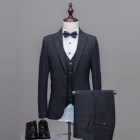 NA40 2018 New Custom Made Groom Tuxedos Men Suits Wedding Suit Stage Clothing Blazer 3 Pieces (Jacket+Pants+Vest) Custom Suit