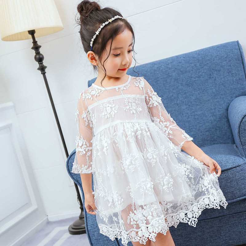 Summer Flower Girls Dress 2018 New Fashion Lace Children Princess Dress 3 4 5 6 7 8 Year Kids Clothes for Party Pink White girls summer new arrival korean dress children clothes little child rose flower lace chiffon dress kids clothes pink green