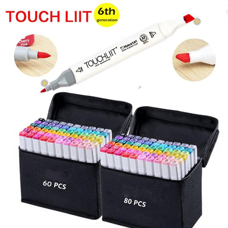 Touchliit Alcohol marcadores artísticos duales Anime arquitectura 30 40 60 80 colores paisaje Interior diseño profesional marcador gráfico lapiceros de dibujo Maqueta a escala de 5 uds, material de construcción, hoja de PVC, techos de azulejos en tamaño 210x300mm para diseño de arquitectura