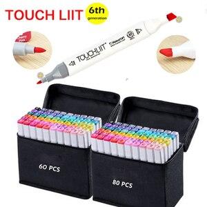 Touchliit alkohol podwójne markery artystyczne architektura Anime 30 40 60 80 kolorów projektowanie wnętrz krajobrazowych Pro Marker graficzny rysuj długopisy