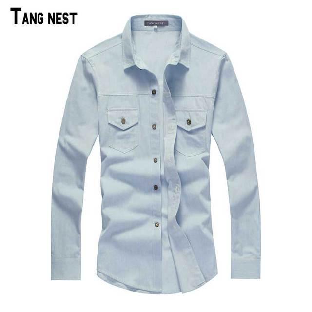 Tangnest camisas ocasionales de los hombres camisas de los hombres de 2017 nuevos hombres de la moda slim fit denim camisa de manga larga primavera camisa de tela mcl1556