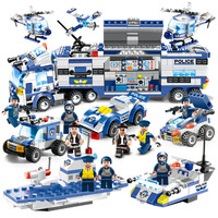 762PCS Aircraft Car 8 IN 1 City Police Series Bricks Special Force Building Blocks Military Legoings SWAT Toys For Children Boy