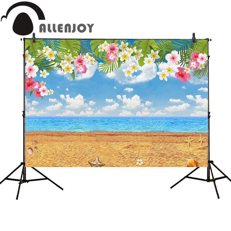 Allenjoy photography backdrops Tropical party Birthday Hawaii Summer Beach background newborn baby shower photocall allenjoy backdrops baby shower background pink stripe rose gold circle birthday invitation celebration party customize