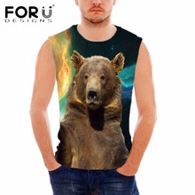 FORUDESIGNS 2018 3D Animal Wolf Pattern Tank Top Man Clothing Vests Bodybuilding Fitness Undershirt for Male Blusa Masculina