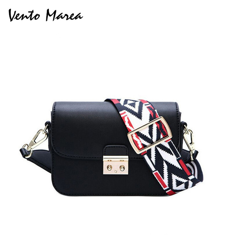 Fashion Bag Crossbody Female Black Handbag 2017 Classic Colorful Wide Strap Messenger Bag Leather Lady Womans Shoulder Bags
