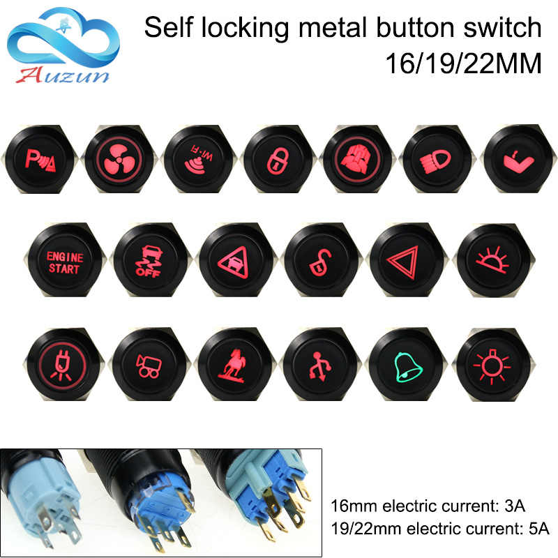 16/19/22mm metal button switch self-locking oxidizing black multi-style figure master switch can be customized 12v 24v 110v 220v