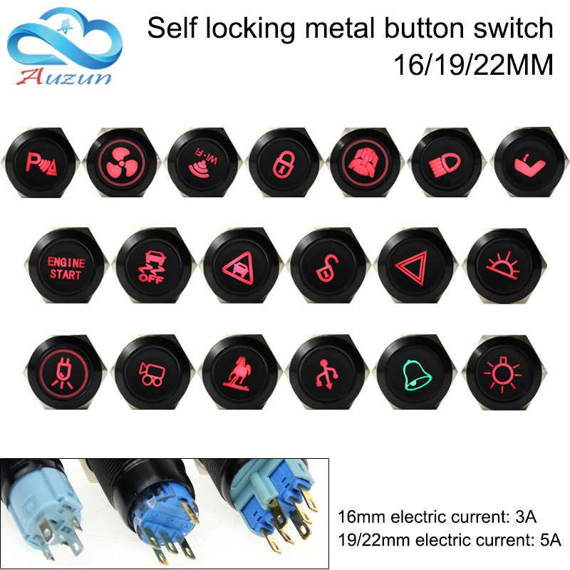 16/19/22mm bouton en métal interrupteur auto-bloquant oxydant noir multi-style figure master commutateur peut être personnalisé 12 v 24 v 110 v 220 v