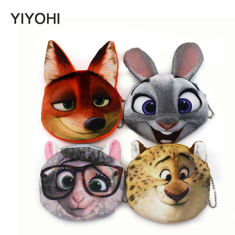 YIYOHI 12cm*10cm Cute Style 3D Print Crazy Animals Zipper Plush Coin Purse Kawaii Children Coin Purse Women Wallets Mini Handbag свитшот print bar crazy