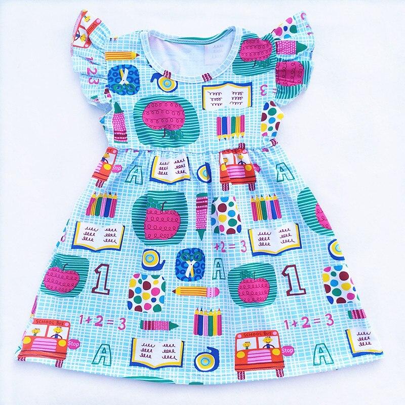 2018 для маленьких девочек школьный автобус карандаш Apple книги для девочек с принтом назад к Школьное платье детей 100% хлопок эксклюзивная оде...