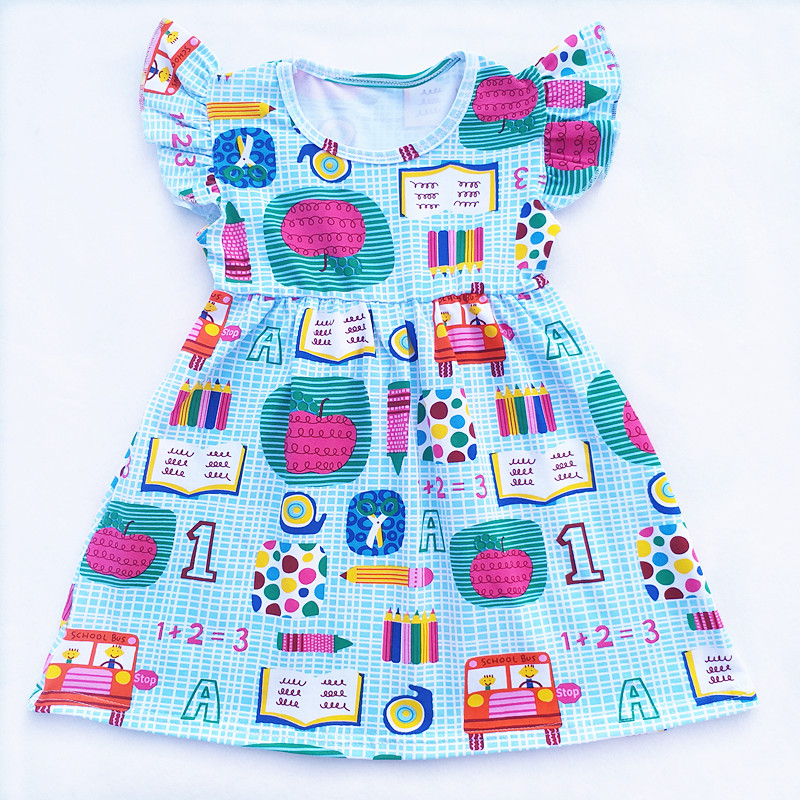 2018 Toddler Girls School Bus Pencil Apple Book Printed Girl Back to School Dress Children 100% Cotton Boutique Clothing