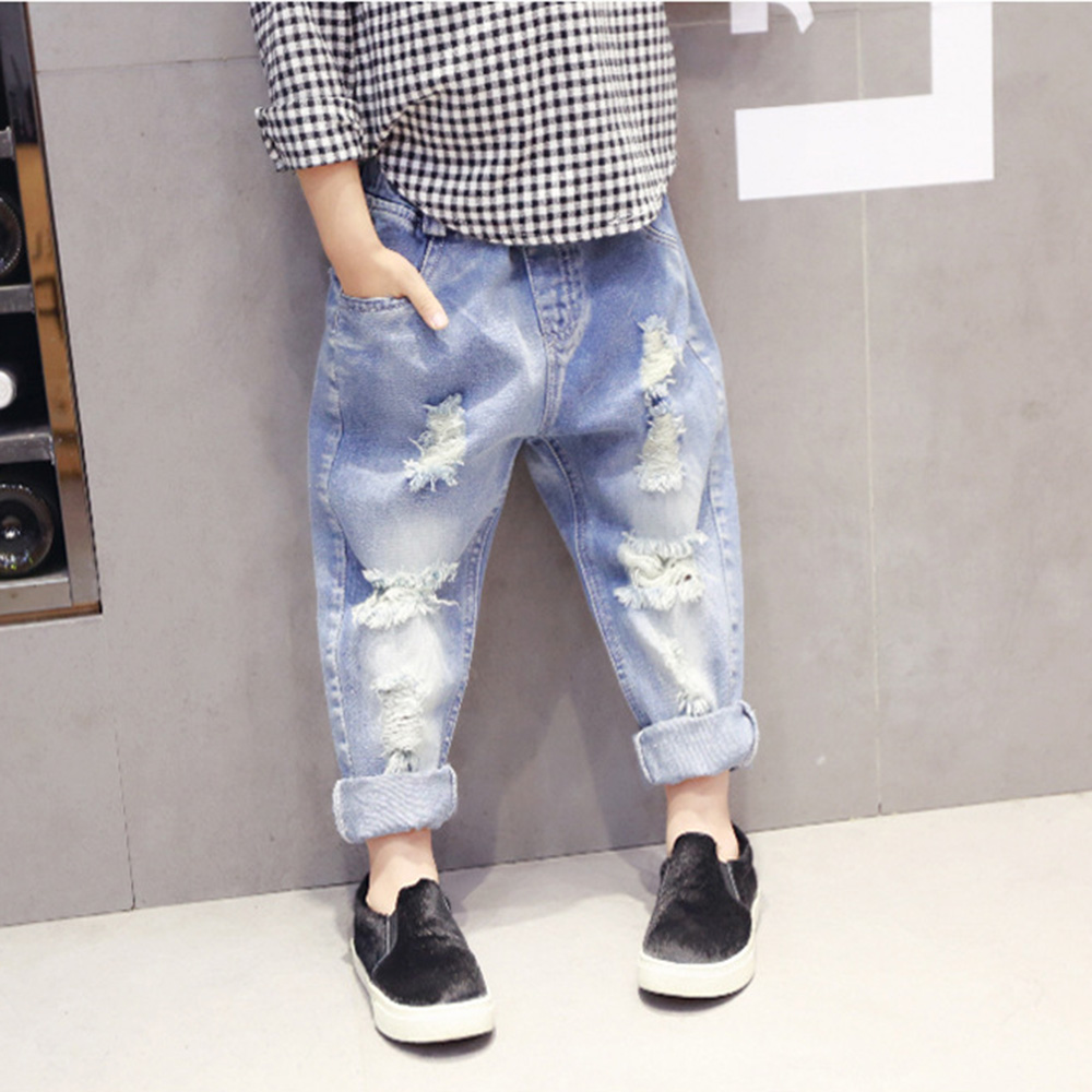 Nieuwe Collectie Fashion Kids Ripped Jeans Voor Meisje Slanke Mid Fit Denim Broek Kinderen Kinderkleding Meisjes Gat Broek Jean Menina