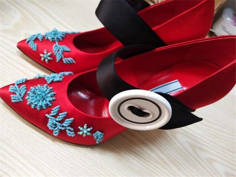 High Capricious Schuhe Taste Schwarzblaupinkrot Heels Farbe Flache Candy Pumps Metall Kette Perle Track Embroiderey nNOkZ0wPX8