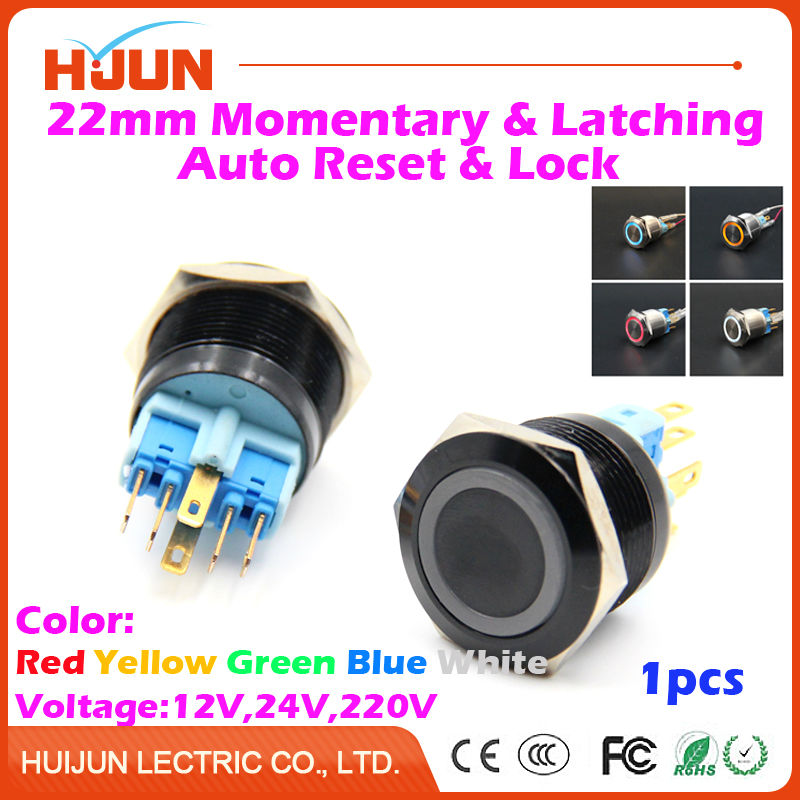 1pcs 22mm Waterproof Momentary Latching Black Oxidation Flat Stainless Steel Metal Push Button Switch LED Light Auto Reset Lock