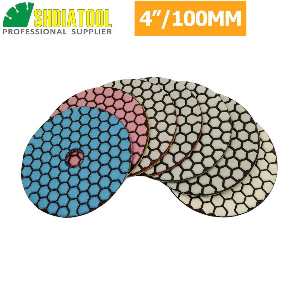 Shdiatool 7 pçs/set 4 polegada seco diamante polimento almofadas diâmetro 100mm resina bond diamante flexível disco de lixar granito mármore cerâmica