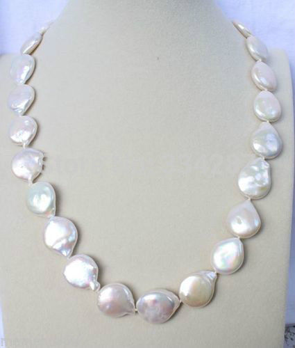 100% Selling Picture full Noblest AA+ 12-13 mm white coin pearl necklace
