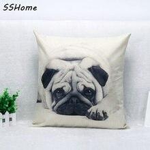 Pug lindo Perro Mascota de Impresión en blanco y negro Personalizado Decorativa Casera Throw Almohada decoran almofadas almohada sofá cojín de la silla