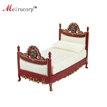 Dollhouse 1:12 scale Miniature furniture Exquisite craft Bedroom Bed dollhouse 1 12 scale miniature furniture exquisite white hand piano and stool