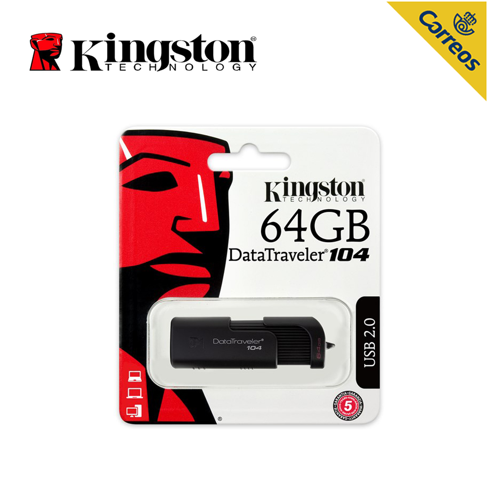 Kingston Technology DT104 USB Flash Drive 64GB USB Type A connector Business Office Car Stick USB 2.0 Black Pen Drive new