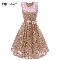 JLI MAY Summer tank lace dress women party elegant vintage retro wedding casual slim sexy belted midi v neck sleeveless pink