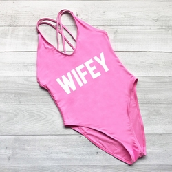 WIFEY, сексуальный купальник, женская одежда для плавания, Цельный боди, пуш-ап, монокини, Холтер, крест, купальный костюм, одежда для плавания, ... 2