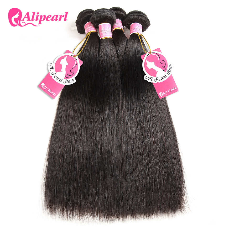 Ali Pearl Hair 100% Human Hair Bundles Brazilian Straight Hair Weave 3 Bundles 8 to 28 30 inches Black Remy Hair Extensions(China)