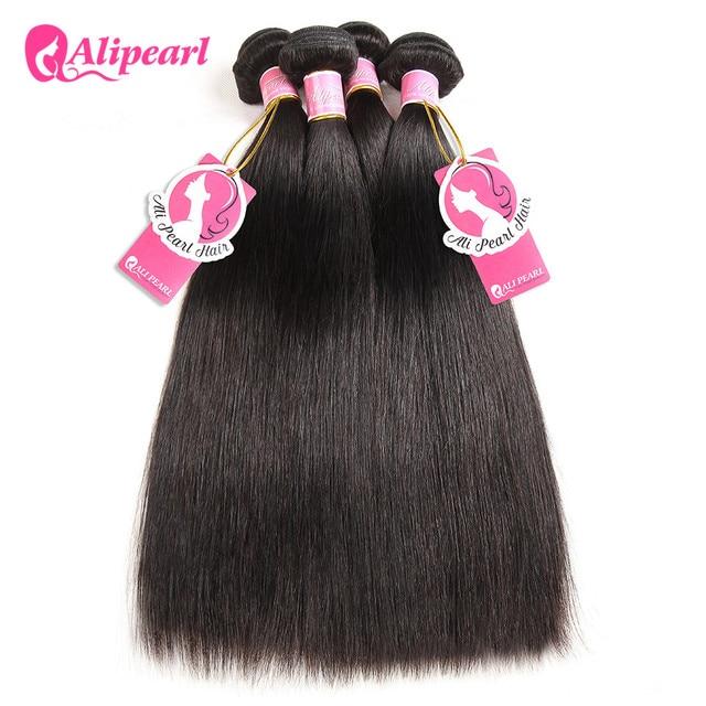 Pelo de perla Ali 100% paquetes de cabello humano brasileño tejido de pelo recto 3 paquetes 8 a 28 30 pulgadas negro Remy extensiones de cabello