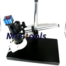 On sale Industry VGA camera with IR remote control +180X C-Mount Glass Lens with Big boom stand  for Industry Lab Microscope Camera CCTV