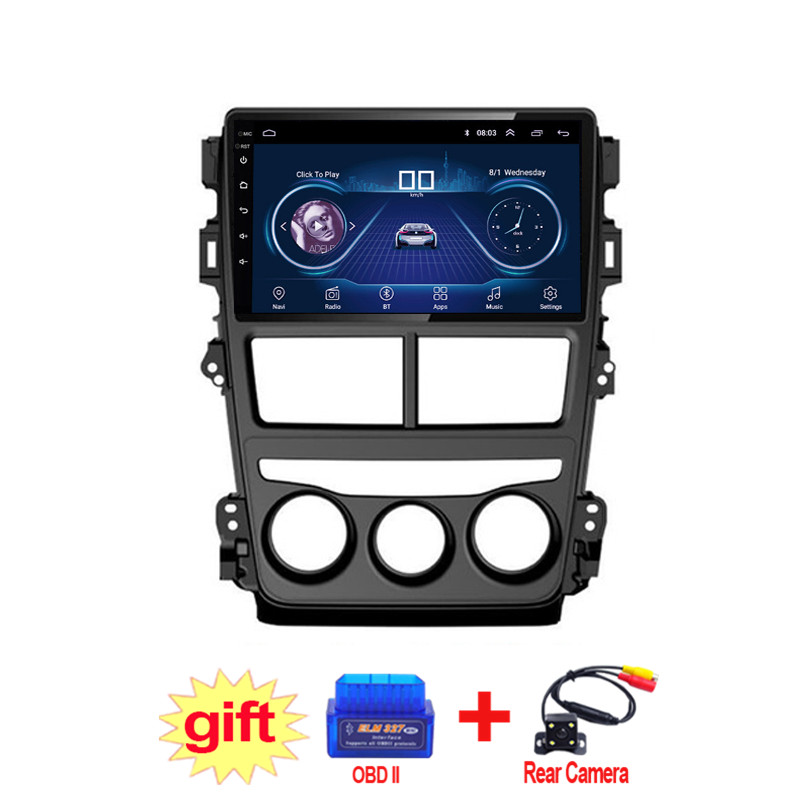 9inch IPS and 2.5D Touch Screen Android 8.1 Car DVD GPS Navigation for Toyota Vios Yaris 2017 2018 Radio Audio Stereo