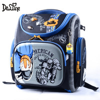 Delune Children High Quality 3D Cartoon Cars School Bags Boys Girls Students Kids Travel Orthopedic Satchel