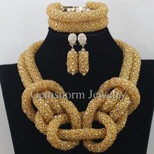 Fashion Champagne Gold African Costume Jewelry Set Nigerian Wedding African Beads Jewelry Set Chunky Free Shipping WA076
