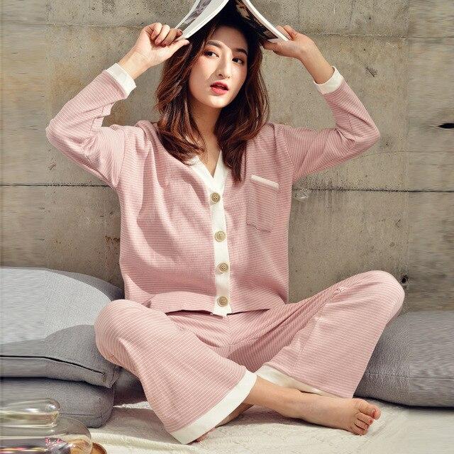 2019 Bahar Yeni Çizgili Ev Giyim V Yaka Pijama Seti Örme Pamuk kadın Pijama Eğlence Uzun Kollu Pantolon Pijama Pj seti