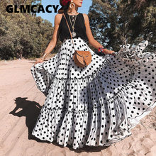 851fa4a4c249cb Plus Size Vrouwen Polka Dot Print Maxi Tiered Rokken Hoge Taille Zomer Lange  Geplooide Rok Sexy