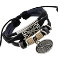 JC Ying Yang Bracelet Male Leather Woven Beads Bracelets Men Brazaletes Pulseras Hombre Cuero Female Bulk Jewelry LB014